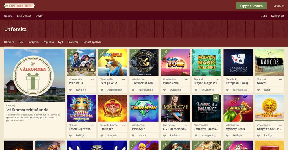 Casinostugans spelutbud