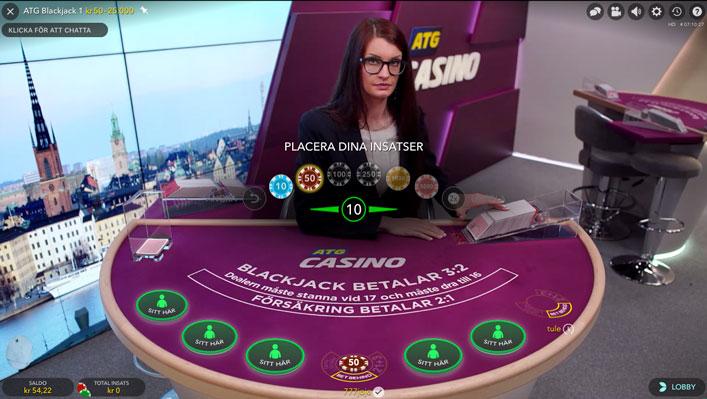 ATG livecasino - Spela Blackjack