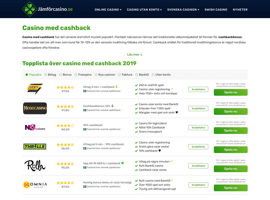 Skärmdump på Jämförcasino.se bästa cashbackbonus 2019