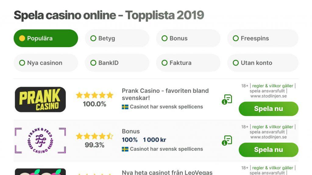 Hitta bästa casino online hos oss - jämförcasino.se