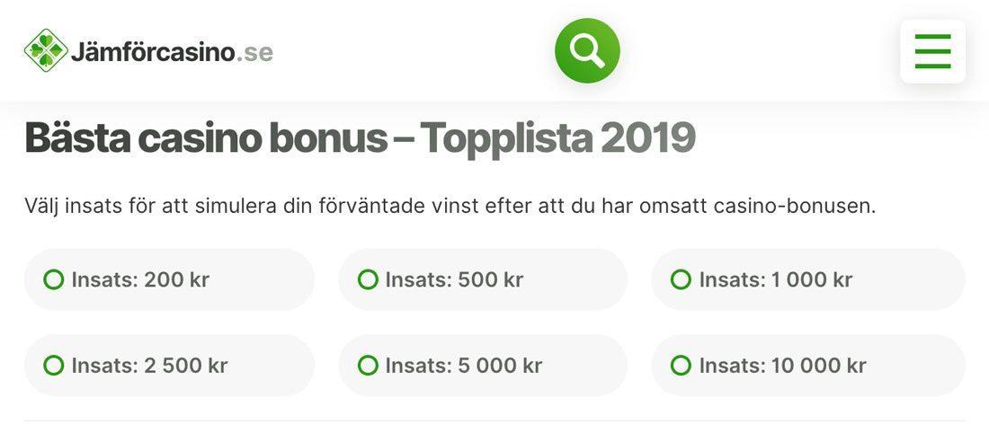 Bästa Casino bonus - Topplista 2020 - Jämför alla bonusar hos svenska nätcasinon