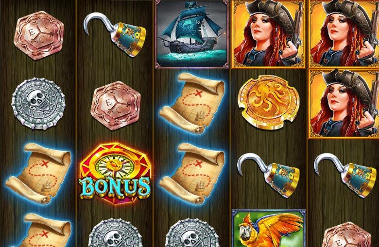 Guld- och silvermynt och andra symboler pryder hjulen i Pirate Gold